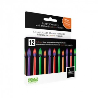 Coloured flame birthday candles white box